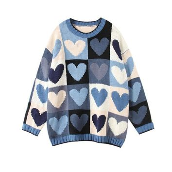 Blue Patchwork Hearts Warm Roomy Pullover Sweater