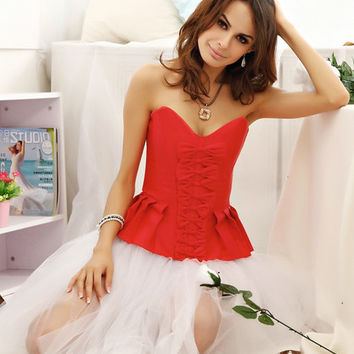 Red Bow Knot Peplum Corset