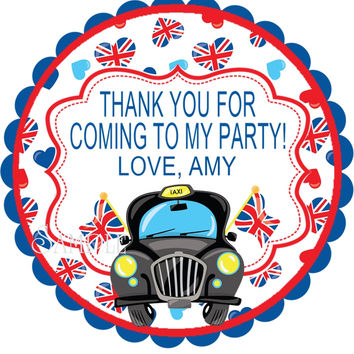 "London Themed Birthday Party Stickers Or Favor Tags - 2.5"" Round"