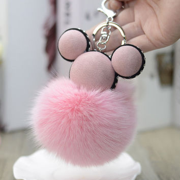 Fashion Chaveiro Mickey Keychain Real Fur Pom Pom Key Chain Fashion Ornaments