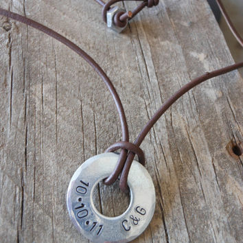 Personalized Handstamped Men's Hardware Necklace- unique men's gift, men's jewelry, anniversary gift, Valentine's Day gift