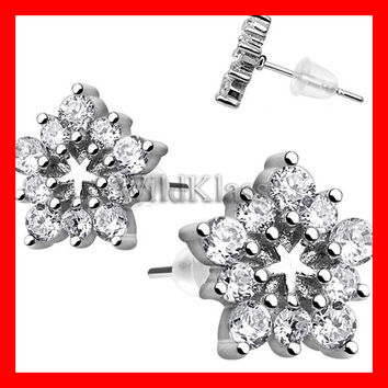 Pair of .925 Sterling Silver Multi CZ Flower Tiny Stud Earrings Cartilage Earring Helix Jewelry Tragus Piercing Hex Ring Conch Earring