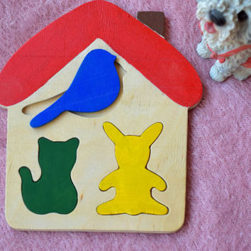 Wooden puzzle Baby Toy Montessori Educational Toys Fairy house puzzle Toddler wood Baby Shower Gift Organic Eco Friendly kids toy animal