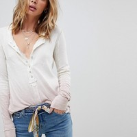 Free People Ombre Jersey Henley Top at asos.com