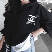 """Chanel"" Women Casual Logo Letter Print Loose Long Sleeve Hooded Pullover Sweater Tops"