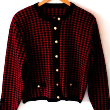Blueberry and red/hounds tooth/warm/knitted button up/vintage 80s jacket/cardigan
