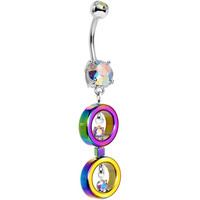 Aurora Rainbow Links Dangle Belly Ring Created with Swarovski Crystals