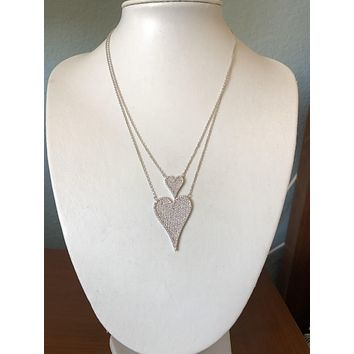 Modern French Pave Double Diamond Heart Necklace
