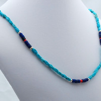 Turquoise Lapis & Coral Southwest Necklace