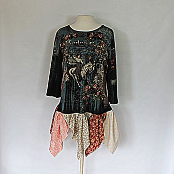Women's Fashion - Upcycled Gypsy Shirt - Cowgirl Top - Praire Farmouse Clothing