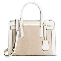 Women's Medium Belted Tote Faux Leather Handbag with Canvas Detail Shell - Merona™