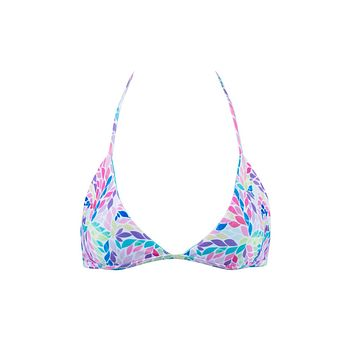 Peaks Reversible Halter Triangle Bikini Top - Mimosa Petals Abstract Print/Sea Green