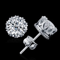 925 Sterling Sliver Prata Fashion Jewelry 8MM Round 2 Carat Cubic Zirconia Silver Stud Earrings