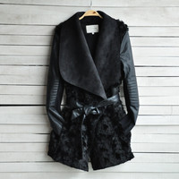 PU leather sleeved jacket coat LK1211DJ
