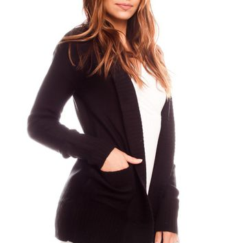 BLACK OPEN FRONT LONG SLEEVES POCKET ACCENT SWEATER CARDIGAN