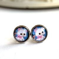 Kawaii cat kitten kitty  earrings sweet lolita feminine stud post