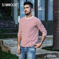 Men Long Sleeve T Shirts New Fashion Slim Fit Pure Cotton Striped Top Male T Shirt
