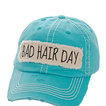 Bad Hair Day Turquoise Patch Adjustable Baseball Cap KBV1073(TQ)
