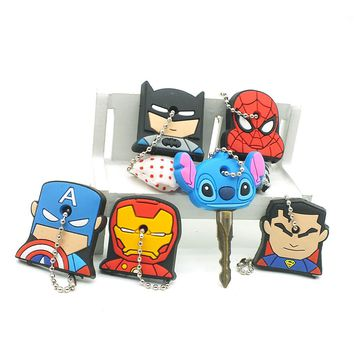 Cute 20PCS/SET Cartoon Anime Silicone Keychain cap Stitch Kitty Minnie Key Chains Caps Avengers Hero Holder Women bag Keychains