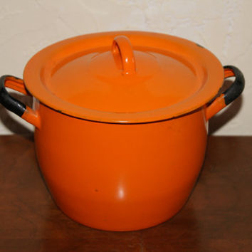 Vintage 1950s Orange With Black Trim Graniteware Enamelware Two Handled Covered Pan With White Interior Made In Poland