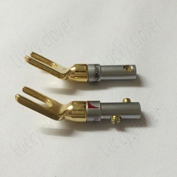 Japan Nakamichi gold plated copper grade interpolation Y Y U- type Screw Spade Banana Plug speaker cable speaker wire connectors