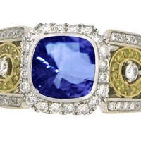 Tanzanite AAA cushion & diamonds 3.26 carat anniversary ring jewelry