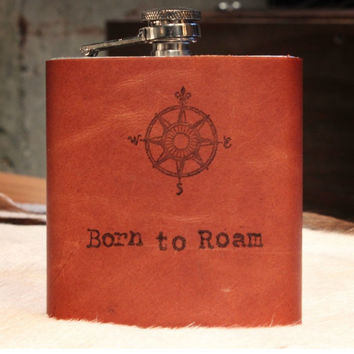 BORN TO ROAM LEATHER FLASK