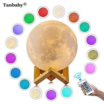 Tanbaby 3D Print Moon Lamp USB Led Lights Lunar Dimmable Night Desk Light 16 colors with Remoter Bedroom bookcases Decor