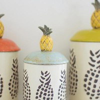 Set Of 3 Ceramic Pineapple Canisters