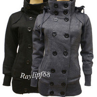 New Ladies Women Double-Breasted Trench Coat Military Style Hooded Long Jacket