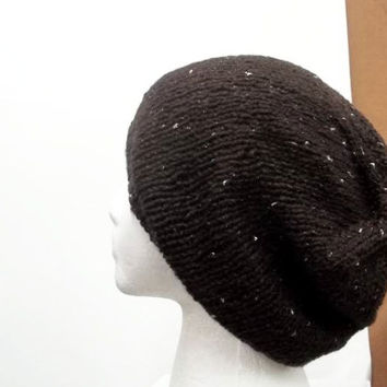 Slouchy beanie hat dark brown with sparkle 5245