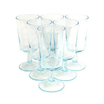 Pastel Blue Sapphire Star Goblets by Libbey Glass (Set of 6) - Unique Duz Promotional Collectible Glassware - Vintage Home Decor or Wedding