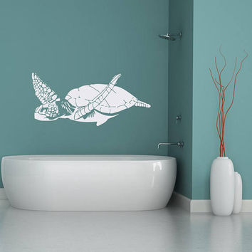 Swimming Turtle Wall Decal Marine Life Decor for Bathroom- Underwater Wall Decal, Sea Turtle Decal, Ocean Wall Decal, Sea Animal Decals #204