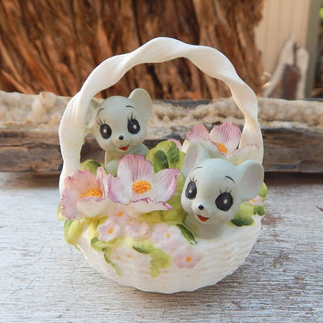 Josef Originals Mice in Basket  ~  Josef Originals Mice in Basket of Flowers  ~  Georgian Fine Bone China Mice in Basket of Flowers