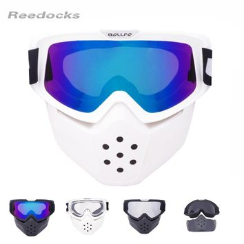 2018 New Mouth Filter Ski Goggles Modulator Detachable Motorcross Mask Men Women Windproof Snow Snowboard Glasses Skiing Eyewear