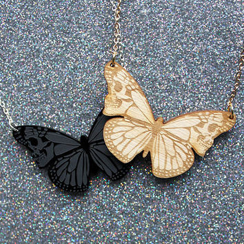 Skullerfly necklace - laser cut etched acrylic or wood