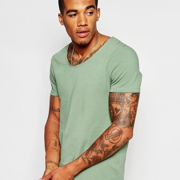ASOS | ASOS Muscle Fit T-Shirt With Scoop Neck And Raw Edges In Stretch at ASOS