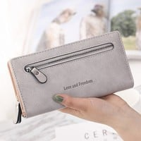 Women Solid Color Coin Purse Long Wallet Card Holders Handbag