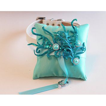 Aqua Ring Pillow attach to dog Collar, Beach Wedding, Under the sea wedding