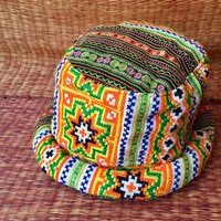Colorful Bucket Roll brim Hat Hippie boho Style Tribal Bohemian Ethnic design Hipster Festival hat Vegan Gypsy fashion gift for men women
