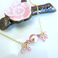 Romantic rose pearl Swarovski crystal gold filled necklace