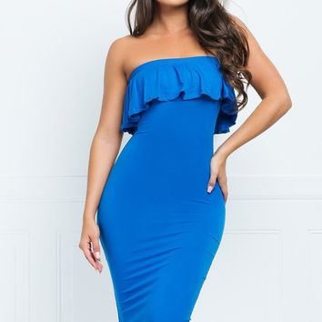 Chantell Off Shoulder Dress - Sky Blue