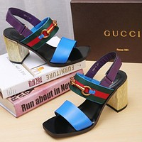 GUCCI Women Fashion Leather Sandals High Heels Shoes 8CM