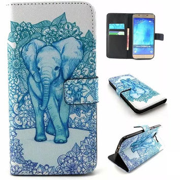 Blue Elephant Print Leather creative case Cover Wallet for iPhone & Samsung Galaxy