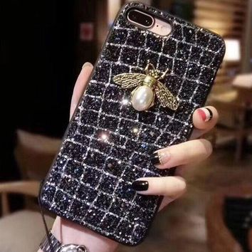 Hot Sale Bee Shiny Stylish Women iPhone Phone Cover Case For iphone 6 6splus 7 8plus iPhone Shell Case I