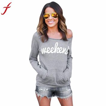 Fashion Gray Women Blouse 'Weekend'Letters Printed Strapless Long Sleeve Sweater Tops Shirt Blouse blusas camisas mujer#LSIN