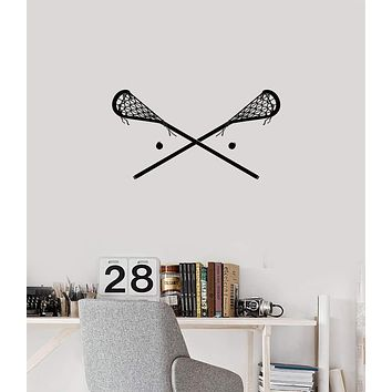 Vinyl Wall Decal Lacrosse Stick Sports Room Decoration Home Interior Stickers Mural (ig5897)