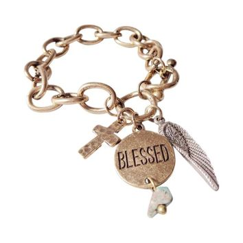 Cross Feather Blessed Toggle Bracelet - BLESSED