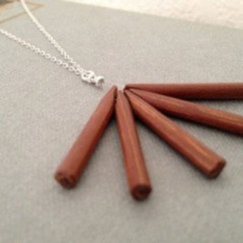 Wood and silver campfire necklace - danish teak charm sterling silver chain - simple modern everyday jewelry - LIMITED EDITION