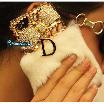 Luxury Crystal D Fur iPhone 4 case, iPhone 4s case, iPhone 5 Case, Furry iPhone cover, Warm Fur, iPhone cover